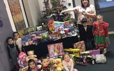 Pupils deliver sacks of toys to disadvantaged children
