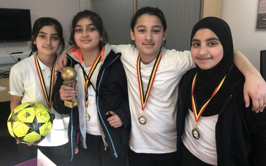 Girls win school football cup
